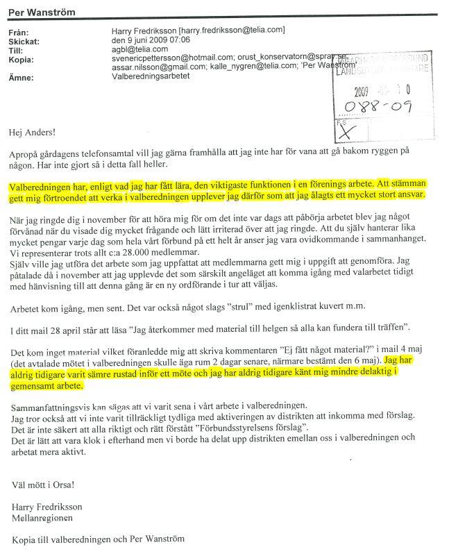 Mail till Anders Lindström m.fl.